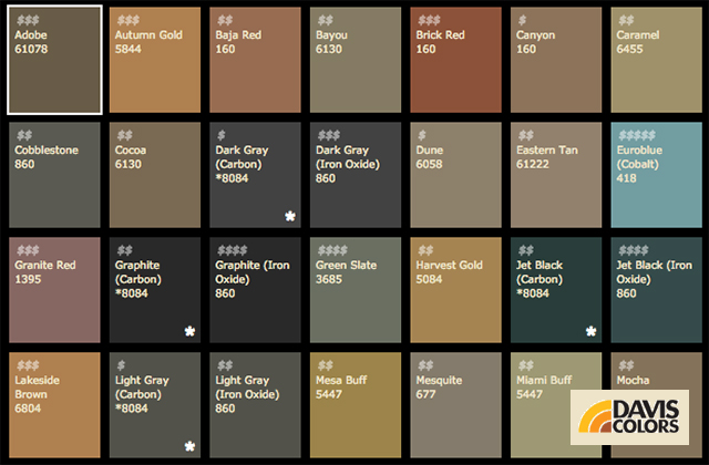 Concrete Color Options (*Select Colors Available)